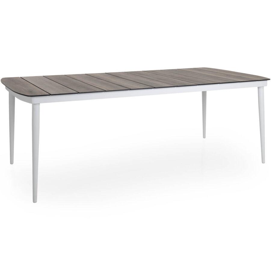 Callander matbord i vitt med laminatskiva i natur.