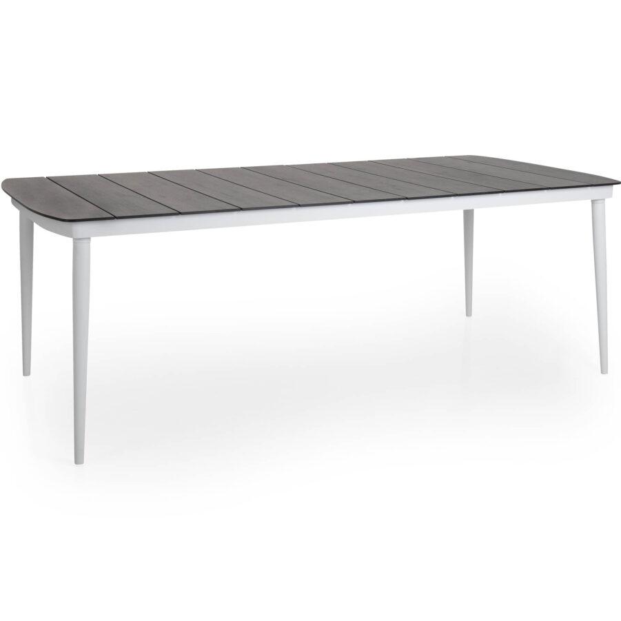 Callnder bord i vitt med laminatskiva i grå träimitation.