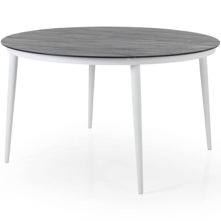 Callander matbord i vitt med grå stenimitationsskiva.