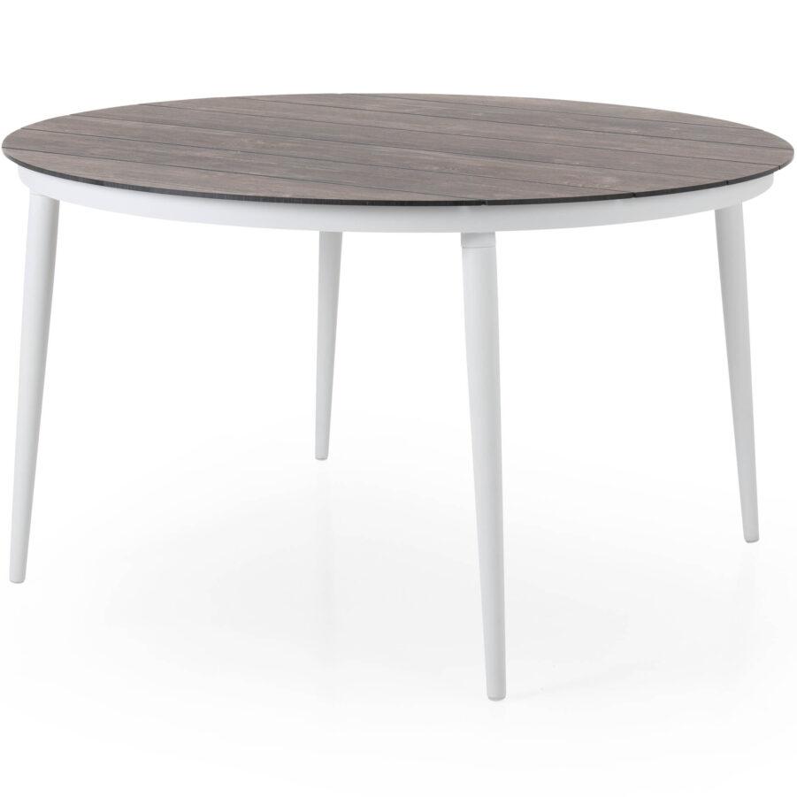 Callander matbord i vitt med mörkgrå träimitationsskiva.