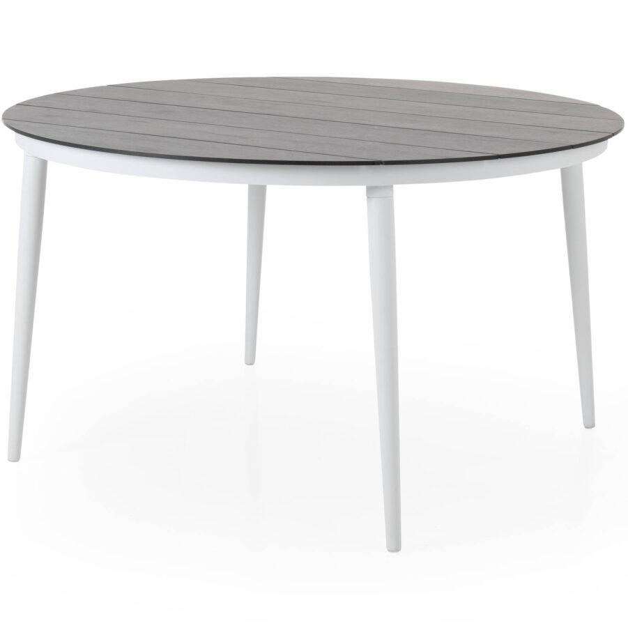 Callander matbord i vitt med grå träimitationsskiva.