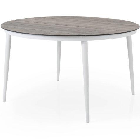 Callander matbord i vitt med natur träimitationsskiva.