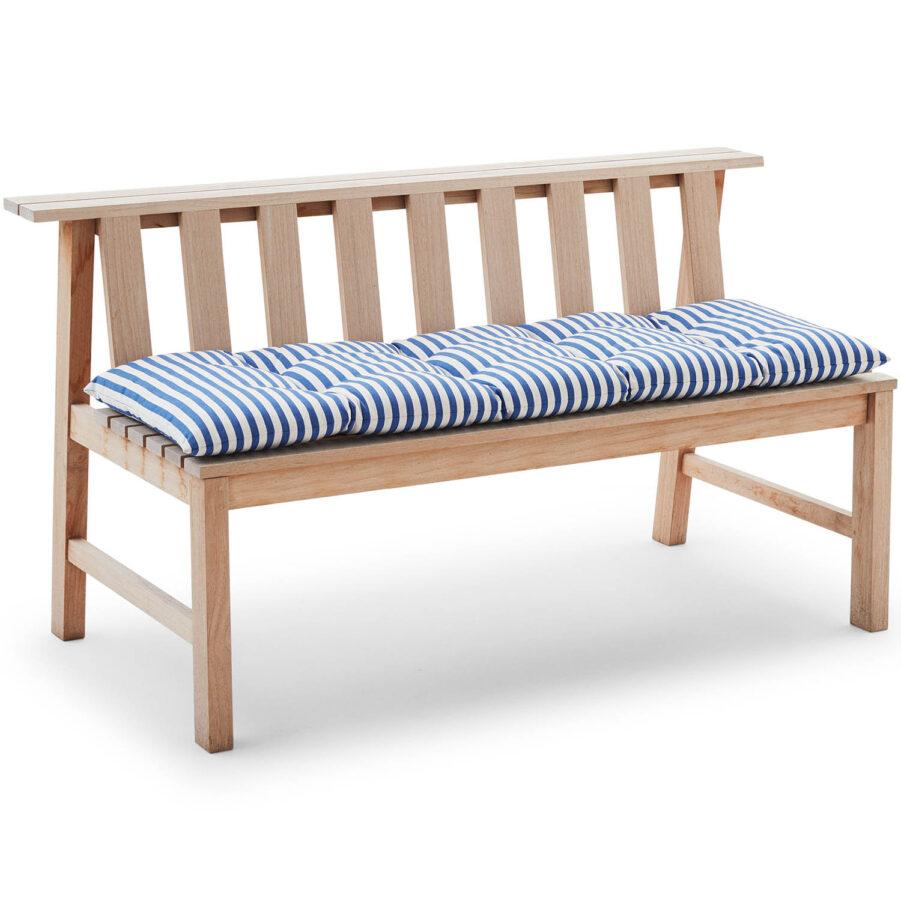 Bild på Plank soffa i teak med blårandig kapok-dyna.