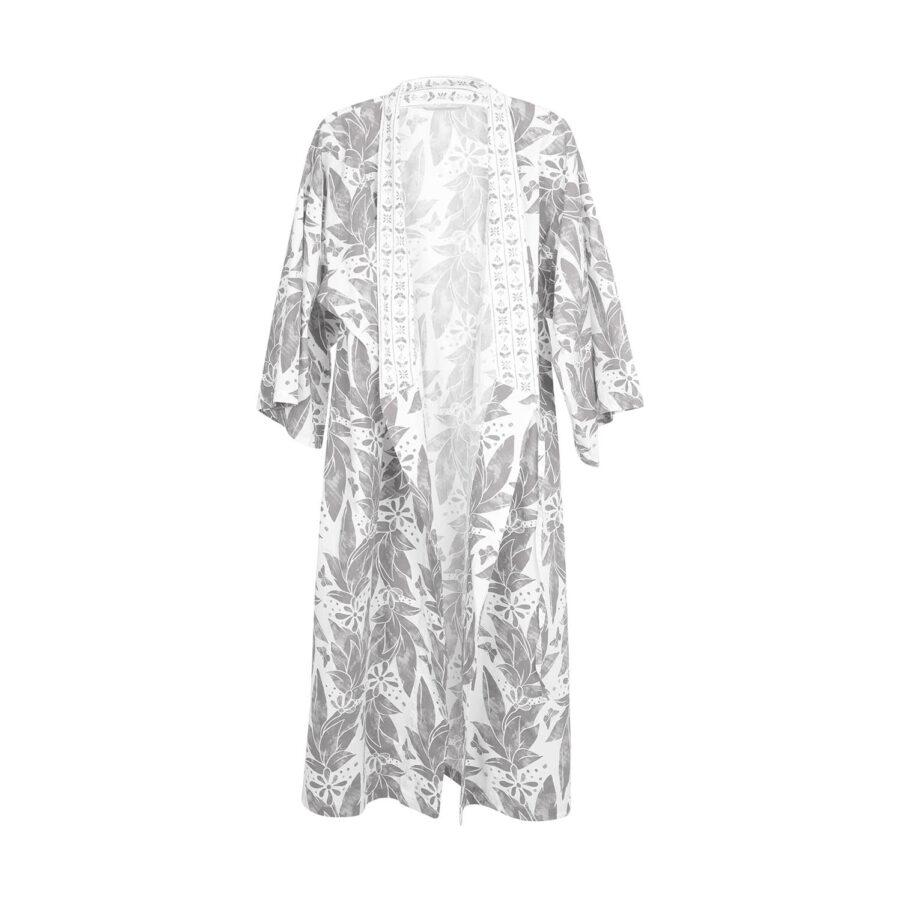 Kimono från Shyness i grått och vitt.