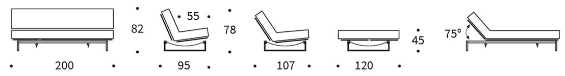 Mått på bäddsoffa Fraction 120 cm.