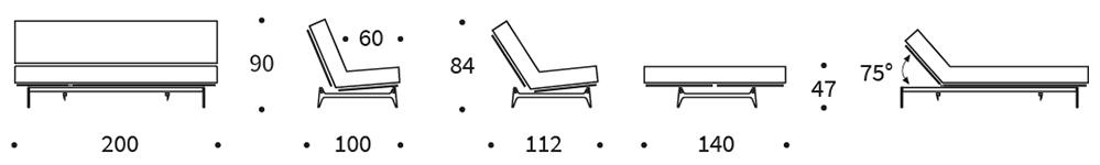 Mått på Aslak futon-soffa från innovation Living.