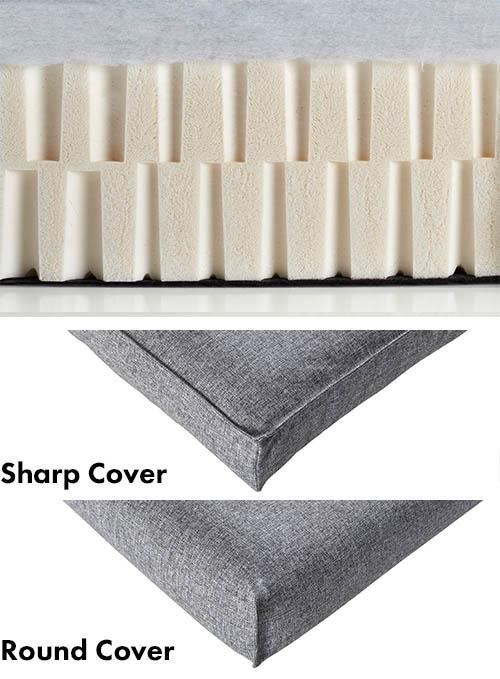 Genomskärning av latex-madrass vit för avtagbart överdrag.
