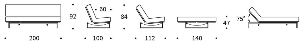 Mått på Fraction soffa från Innovation.