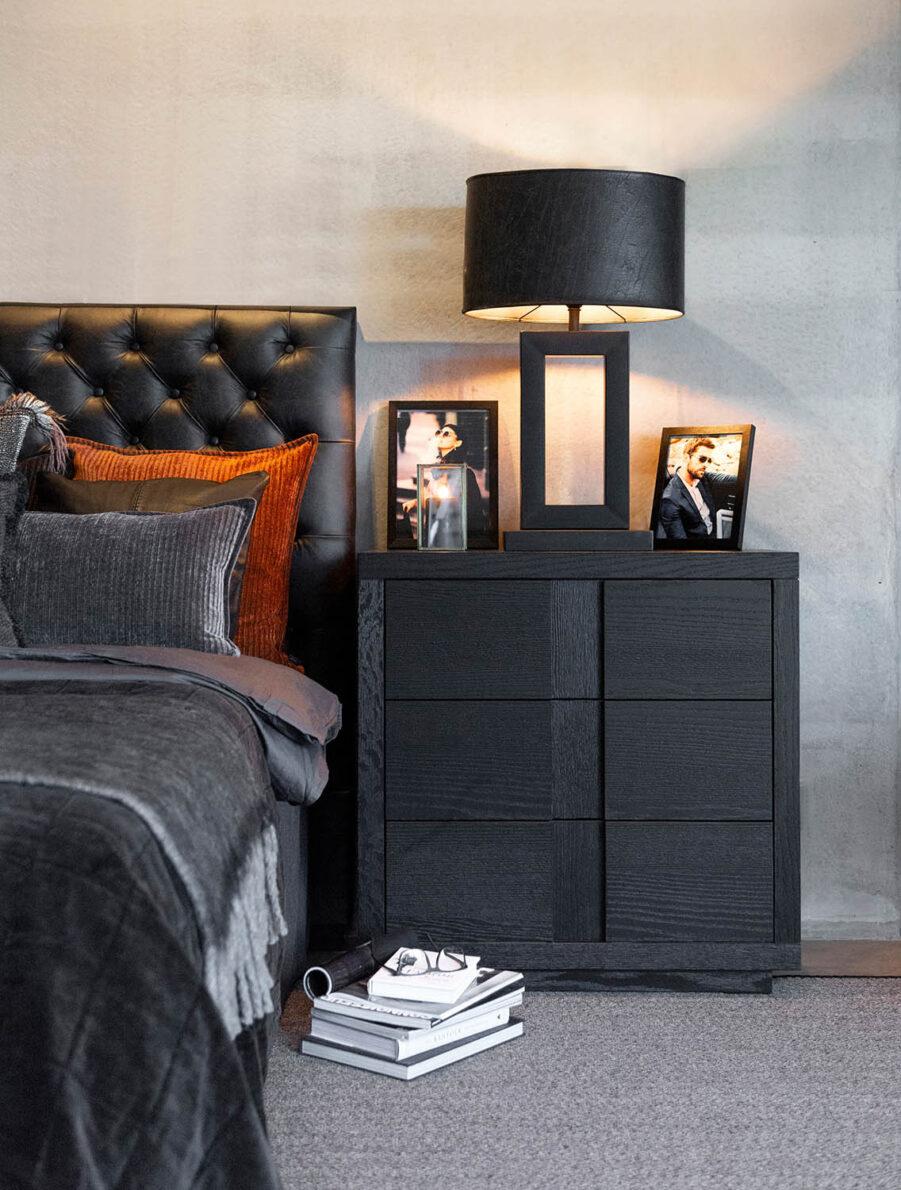 Miljöbild Hunter byrå, Vienna sänggavel, Arezzo bordslampa från artwood