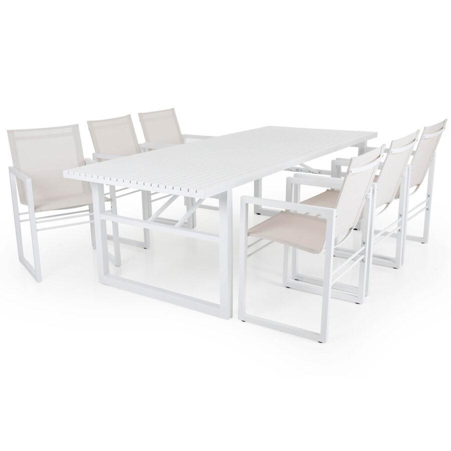 Brafab Vevi karmstol och bord vit