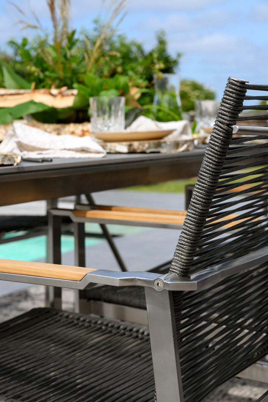 Brafab Gotland stapelstol grå rostfri stål/teak