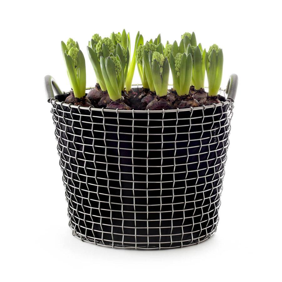 Classic 24 korg i syrafast stål med planteringssäck.