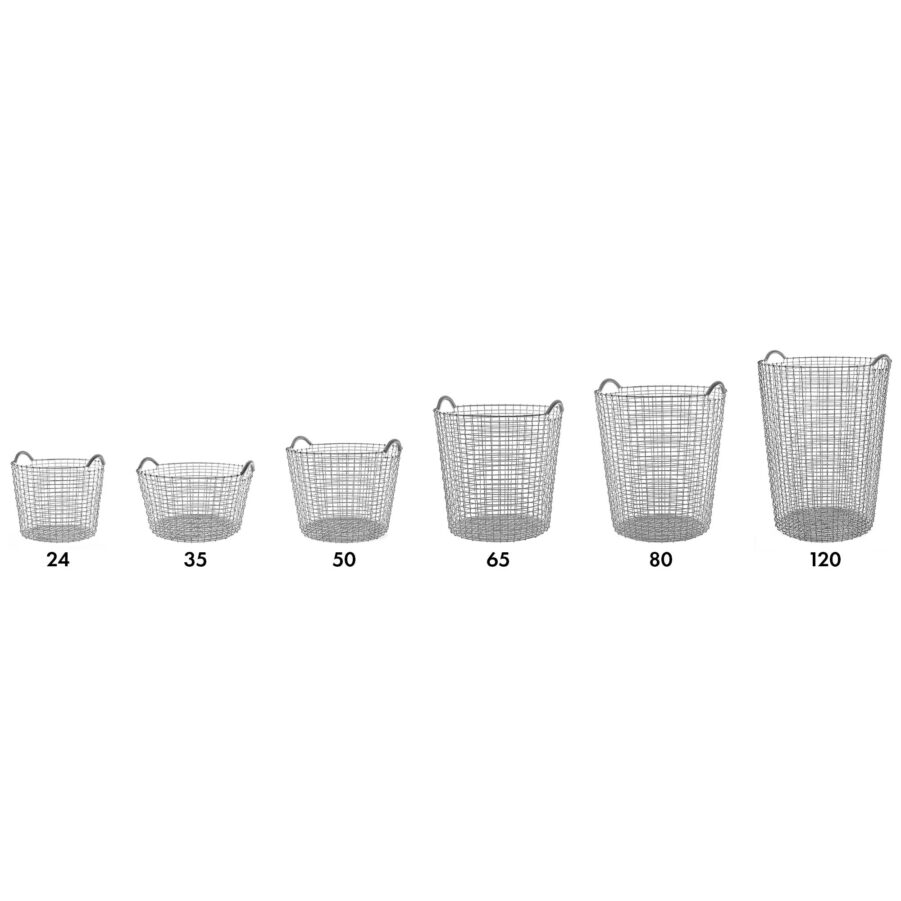 Korbo Classic korgar i olika storlekar i syrafast rostfritt stål.