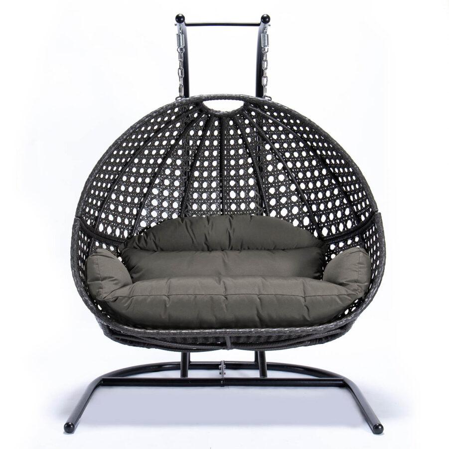 Bild på Relax 2-sitshänggunga i mörkgrått med grå dyna.