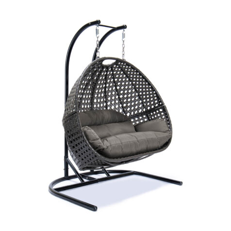 Relax 2-sitshänggunga i mörkgrått med grå/taupe dyna.
