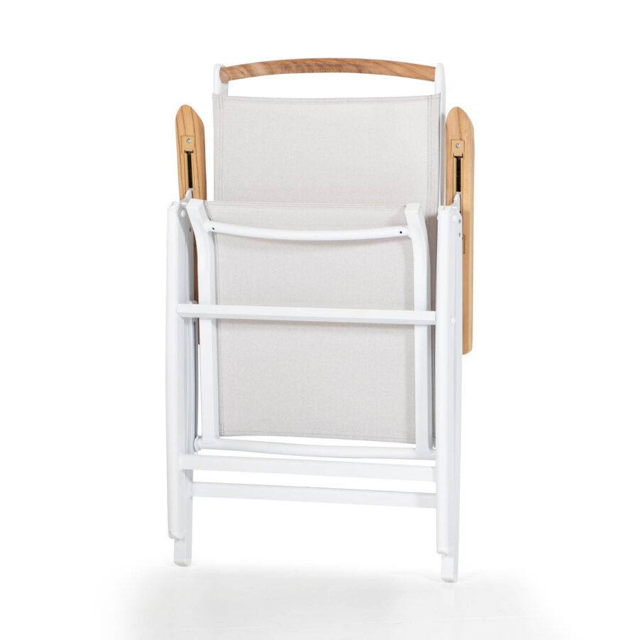 Andy positionsstol i vitt och khaki med teakarmstöd.