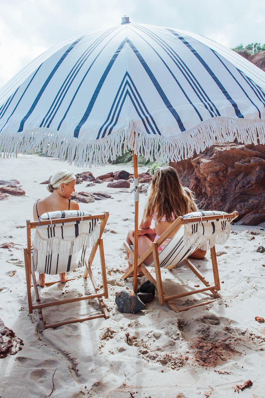 Premium strandparasoll Ø180 cm vintage svartrandigt