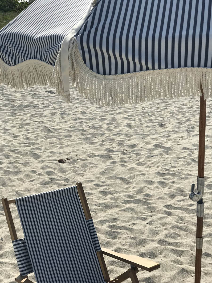 Premium strandparasoll Ø180 cm Laurens blårandigt