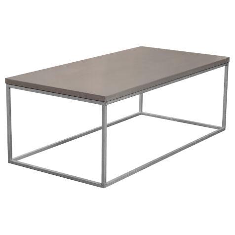 Betongbord med skiva i färgen mystic black, här i storleken 120x60 cm och kubunderrede.