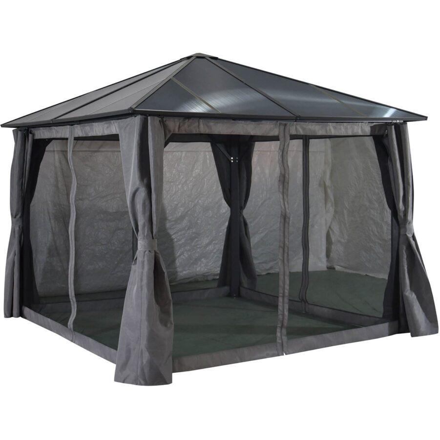 Brafab Scopello paviljong antracit 3x3 m Inkl grå väggar