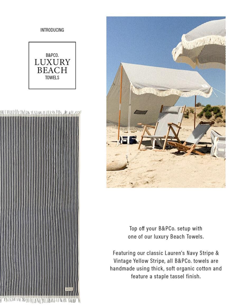 Beach Towel i blårandigt infoblad.