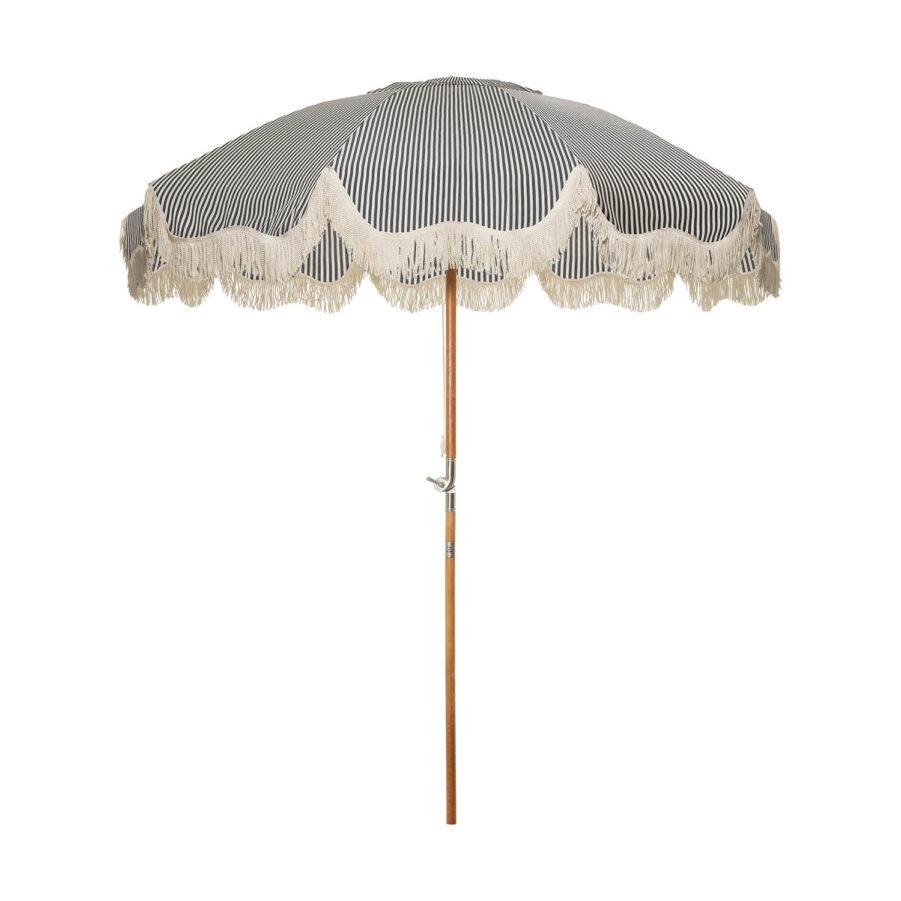 Patio parasoll i vintage Laurens blå och-vitrandigt.
