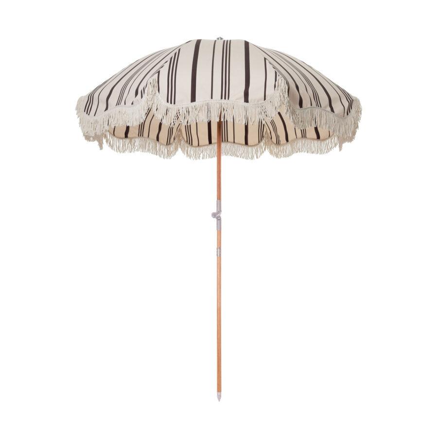 Premium strandparasoll i vintage svart- och vitrandigt.