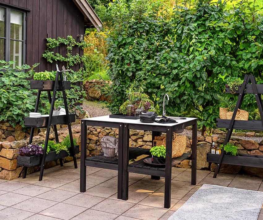 Brafab Holma utekök bänk svart/grå