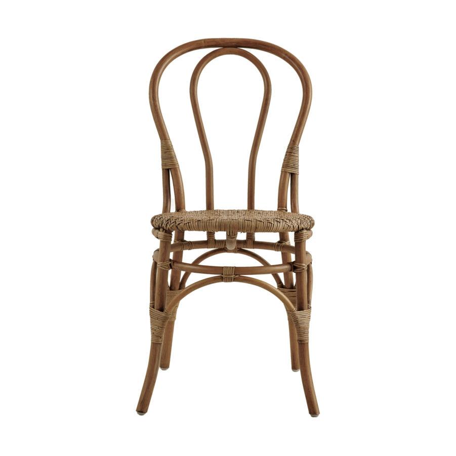 Bild framifrån på Lulu rottingstol i färgen antik.