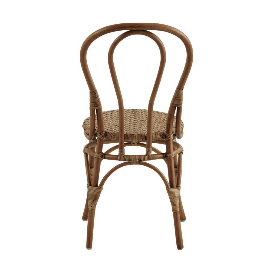 Bild på ryggen av Lulu rottingstol i färgen antik.