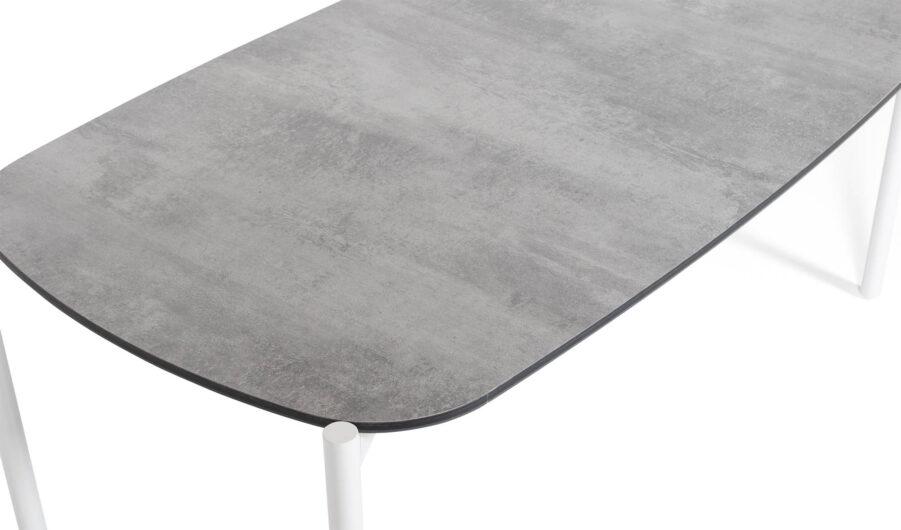 Samoa soffbord i vitlackad aluminium med laminatskiva.