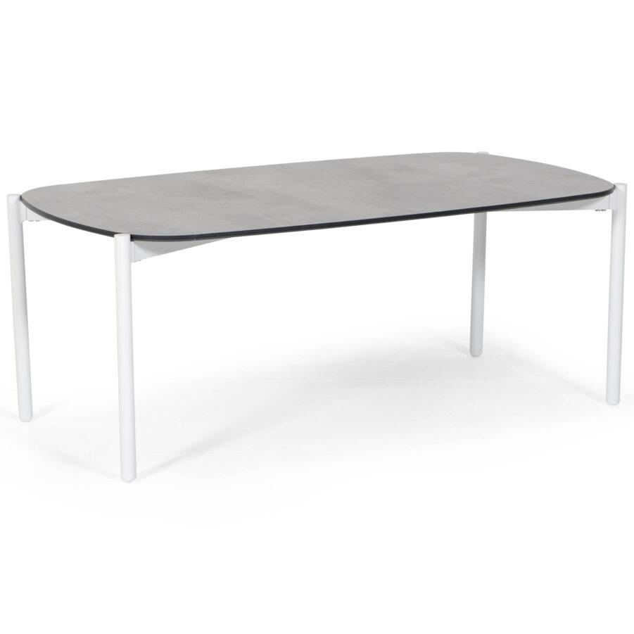 Samoa soffbord i vitlackad aluminium med grå laminatskiva.