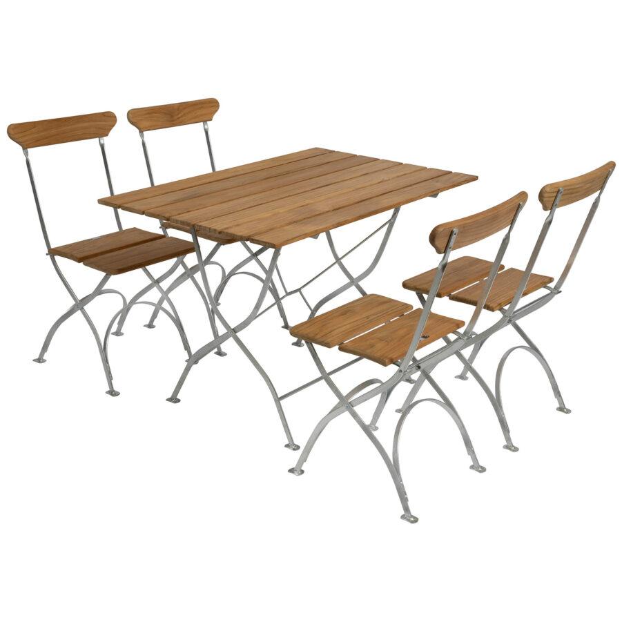 Bryggerigrupp med fyra stycken stolar i teak med varmförzinkat stativ.