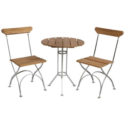 Bryggerigrupp i teak med varmförzinkat stativ, två stycken stolar.