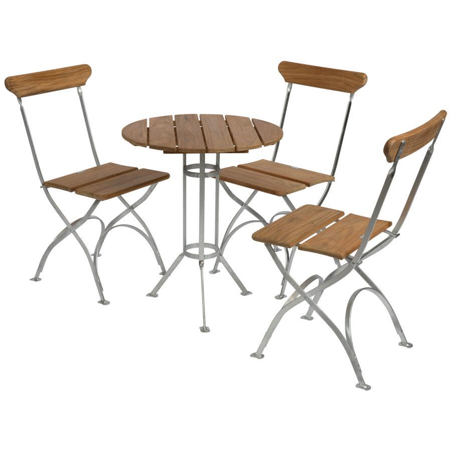 Bryggerigrupp i teak med varmförzinkat stativ, tre stycken stolar.