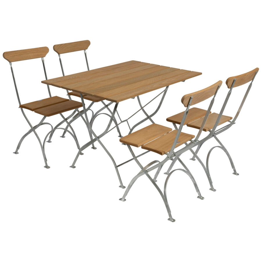 Bryggerigrupp med rektangulärt bord och fyra stolar, i oljad ek med varmförzinkat stativ.