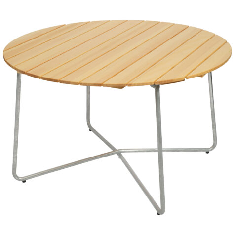 Grythyttan 9A bord i storleken 120 cm med furuskiva och stativ i varmförzinkat stål.