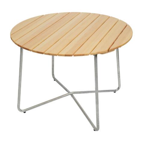 9A bord med diametern Ø100 cm, tillverkat i varmförzinkat stål och furu.