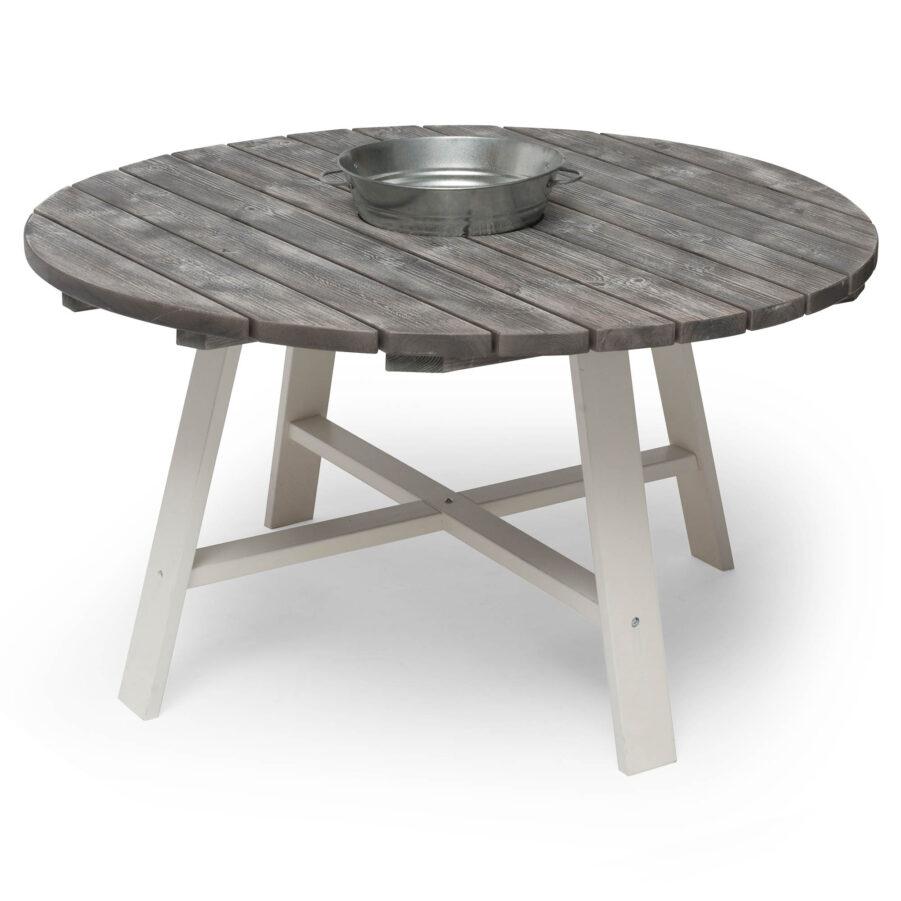 Hillerstorp Shabby Chic bord med zinkspann Ø138 cm vit/grå