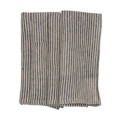 Stripe servett i linne med blått tryck från Chamois.