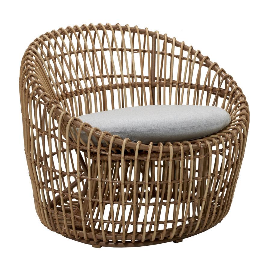 Cane-Line Nest rund fåtölj outdoor inkl. dyna