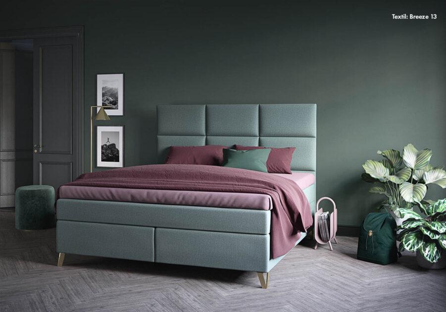 Maestro kontinentalsäng superior med Wall sänggavel, textil Breeze 13.