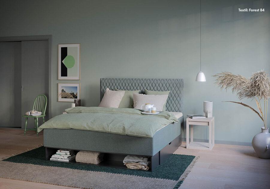 Harlequin sänggavel med en Maestro dubbel ramsäng.