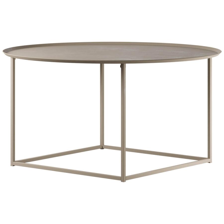Design Of round square soffbord large i färgen beige.