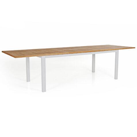 Lyon matbord i matt vitt med teakskiva.