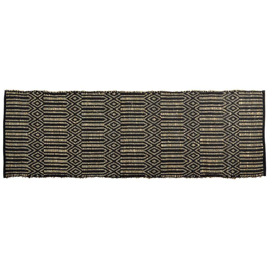 Sjögräsmatta i svart och natur i storleken 200x70 cm.