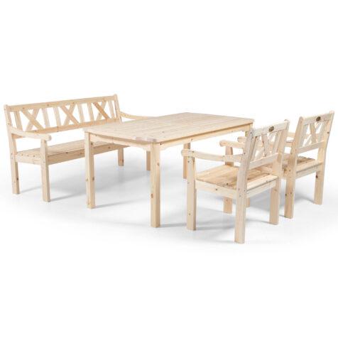 Läckö karmstol och soffa med Visby matbord i obehandlad furu.