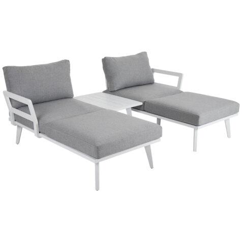 Villac loungeset med solsängar i vitt med gråa dynor.