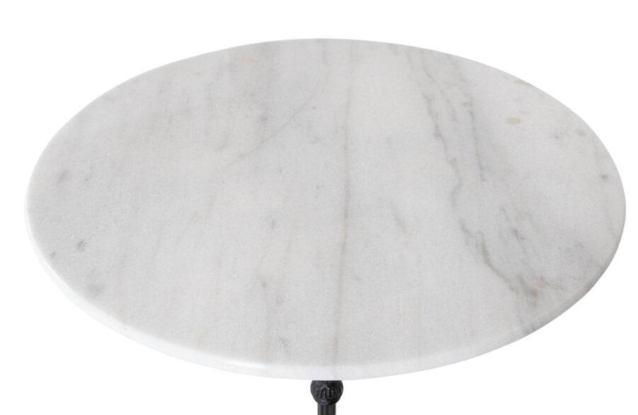 Ljusgrått marmorbord Ø70 cm med svart gjutjärnsunderrede.
