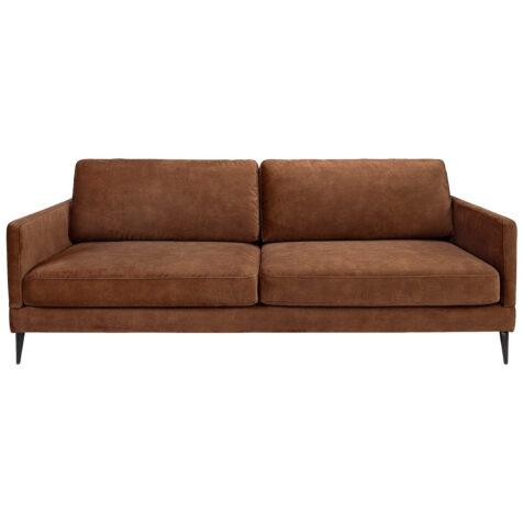 Andorra soffa i brun sammetstyg.